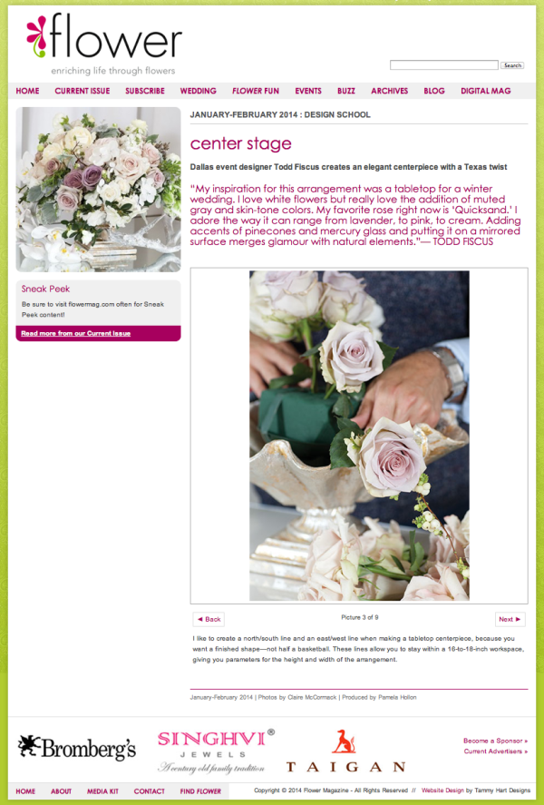 Flower Magazine, Center State Article with Todd Fiscus, Dallas, Texas
